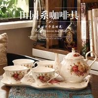 6 Pcs Set European Style Afternoon tea Set coffee Cup Set Chinese Ceramic Coffee Cup with Ceramic tray tea Cup Pot Free Shipping