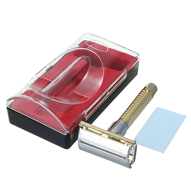 1 pcs New Men's Safety Handheld Manual Shaver + Double Edge Safety Razor Blade Box  M01449 1