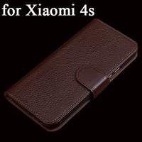 2017 New Fashion Real Leather Wallet Cover for Xiaomi 4s Case Luxury Top Grade Cowhide Mobile Phone Accessories Cover for Mi 4s