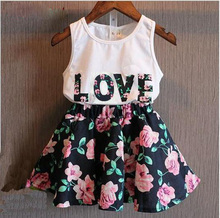 2016 hot sales Girls clothing sets girls clothes letter love flower vest short skirt kids clothes suits children clothing