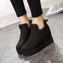 new women muffin shallow canvas winter autumn shoes casual student flat bottom shoes increase short ankle snow boots