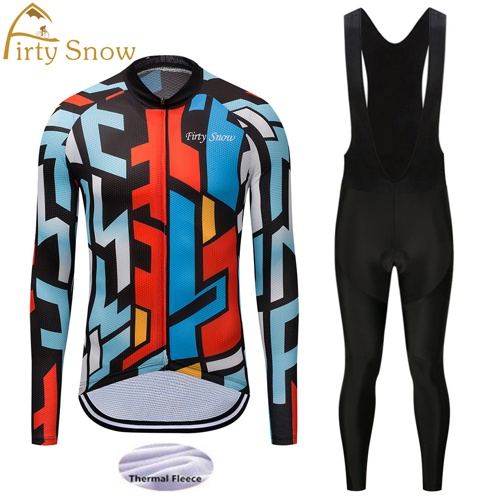 2018 Men Winter Cycling Jerseys Set Breathable Blue Sport Windbreak Clothes Quick Dry 9D Gel Pad