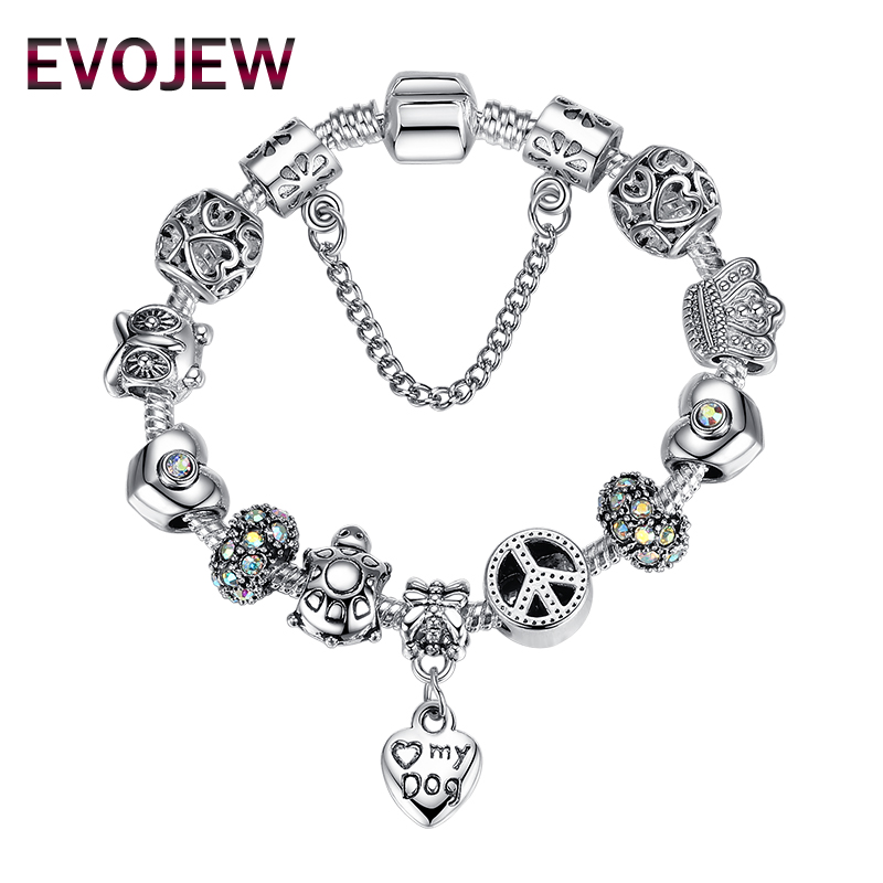 Trendy European 925 silver <font><b>love</b></font> <font><b>my</b></font> dog heart charm Bracelets Clear CZ beads fit bracelets for Women pulseras para las mujeres