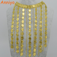 2017 Arab Coin Long Necklace For Women Islam Ancient Coins 24K Yellow Gold Plated Jewelry Muslim
