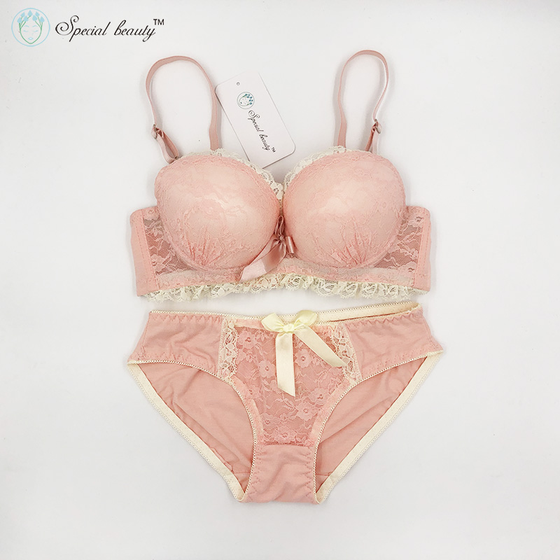 Free shipping!!!Special beauty Soft Campus wind Pure Sweet Girlhood As beautiful as first love Push Up Teenage   Bra     Set