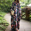 Plus Size 2018 Women Baggy Dress Retro Floral Print Batwing Sleeve Loose Dresses Vintage O Neck