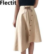 e8483ef7b4 Flectit Vintage Lace-Up botón frontal falda asimétrica mujeres caqui negro  longitud de la rodilla