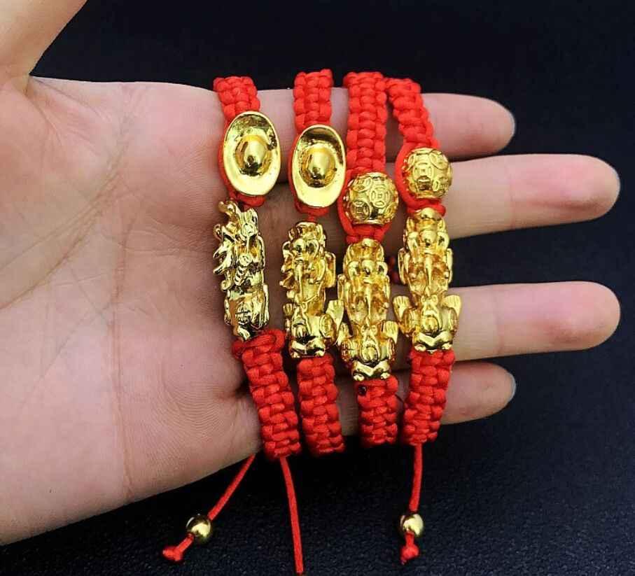 Di alta Qualità di Lucky Braccialetti di Corda Rosso Pixiu Oro Colore Buddista Tibetano Regolabile Braccialetto di Fascino Per Le Donne Degli Uomini Dei Monili del Regalo