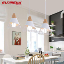 Modern Pendant Lights Iron Cover LED Vintage Pendant Lamp For Restaurant Kitchen luminaire suspendu Wooden Living room Light(China)