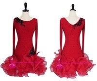 Red Latin Competition Dance Dress Women Rumba Samba Dancing Skirt Adult Hight Quality Custom Made Latin Dress