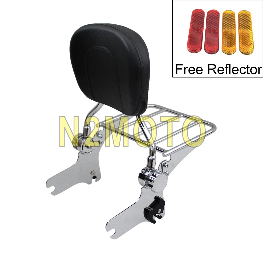 Motorcycle Detachable Sissy Bar Passenger Backrest Seat Pad For Harley Touring