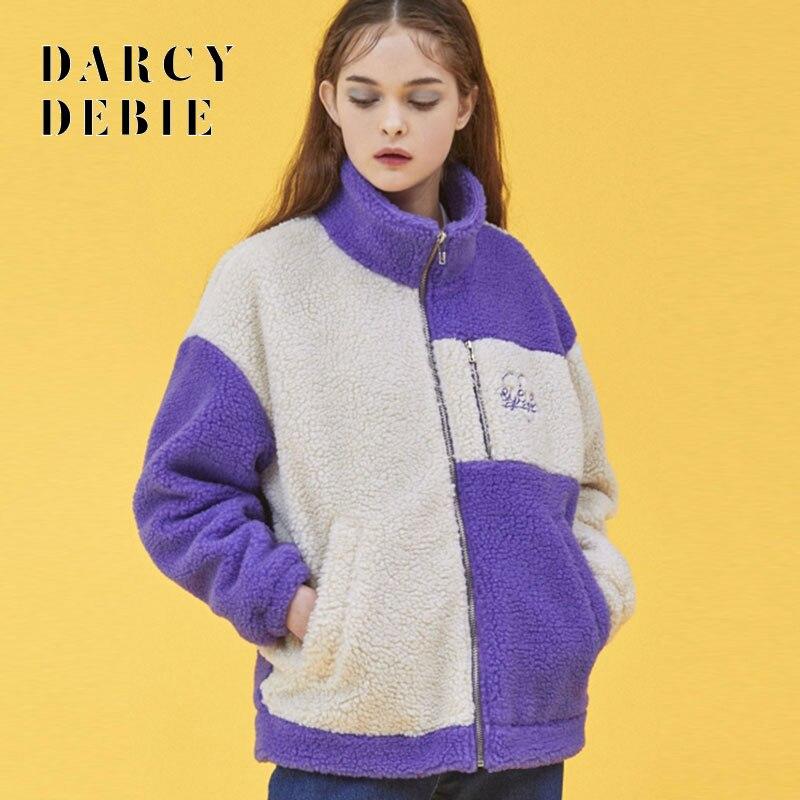 Darcydebie Winter Frauen Casual Süße Nachahmung lämmer wolle Rollkragen Kragen Patchwork Stickerei Halten warme Jacken Mantel