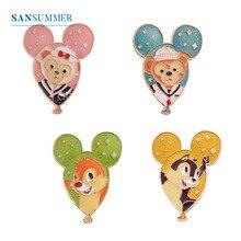 SANSUMMER Feamle Designer Jewelry Luxury Brooches Cartoon Cute Oil Drop Animal Balloon Bear Monkey Squirrel Brooch 5836