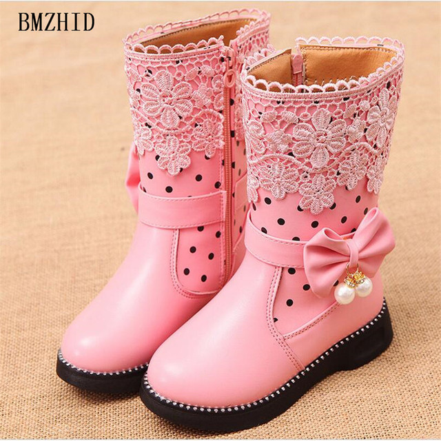 Niños botas de cuero para las niñas de encaje princesa arco 4-12 años Niña ec3eaf84f9177