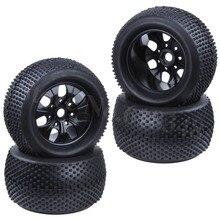 4pcs 2.2 inch RC 1/8 Monster Truck Tires & Wheel Rim Rubber 17mm Hex Hub For Off Road Baja