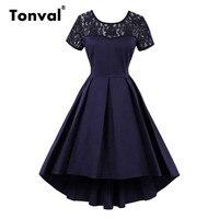 Tonval Short Sleeve Lace Vintage Summer Dress Elegant Backless Retro Party Sexy Dresses Navy Blue 4XL