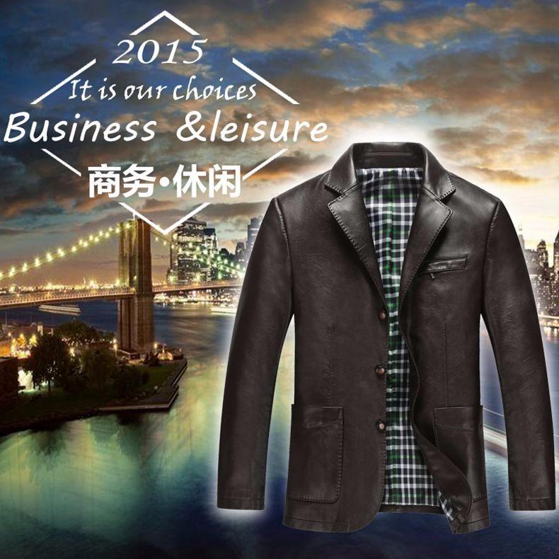 Spring Autumn Man Faux Sheep Leather Jackets Black Brown PU Leather Coats Men Elegance Slim Fit Fur Jacket Tailored Veste Cuir Homme (3)
