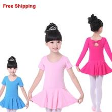 O Envio gratuito de Algodão Criança Leotards Ginásticos Gravata Borboleta Criança Ballet Meninas Tutu Vestido Flexível Vestido Tutu Dança Collant Meninas