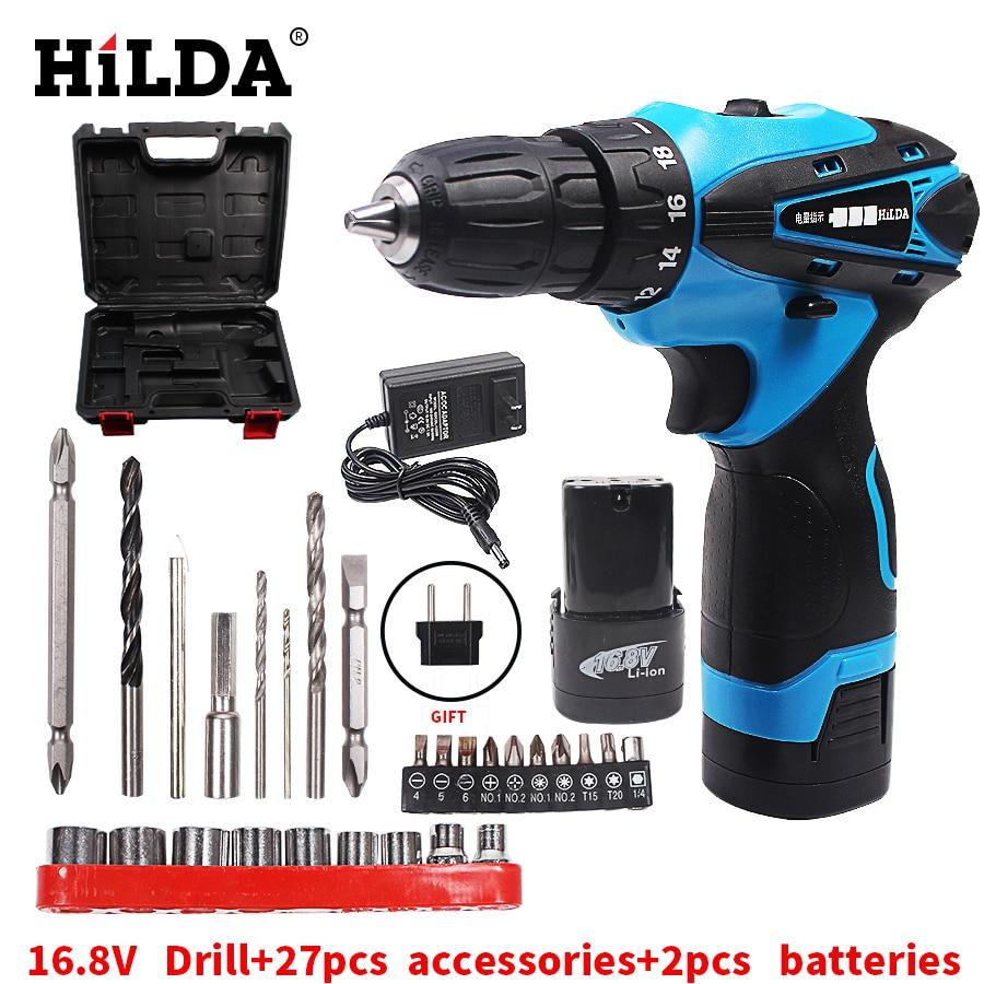 HILDA 16,8 V Elektrische Schraubendreher Batterie * 2 Akkuschrauber Wiederaufladbare Parafusadeira Furadeira Bohrmaschine Kunststoff fall