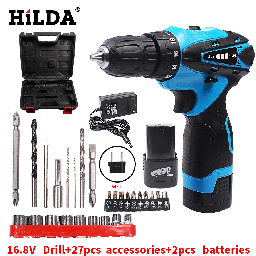 HILDA 16.8V Electric Screwdriver Battery*2 Cordless Screwdriver Rechargeable Parafusadeira Furadeira Electric Drill Plastic case 45pcs drills 4 8v cordless rechargeable reversible electric screwdriver tool set electric screwdriver with plastic case