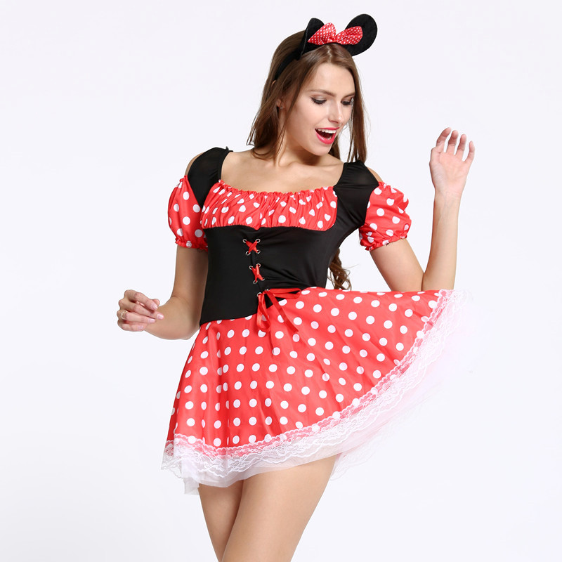 Sexy Christmas Halloween Minnie Mouse Women Xmas Costume Cosplay Dress Up Outfit Ear -7357