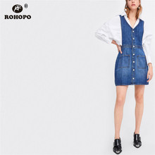 ROHOPO Women Overall Denim Jeans Dress Summer Sleeve Single Breast Buttons Flare Denim Dresses Pockets vestido #LT1992 denim dress 2019 summer slim sweet style strap jeans dress women preppy suspender denim sundress denim overall mini dress
