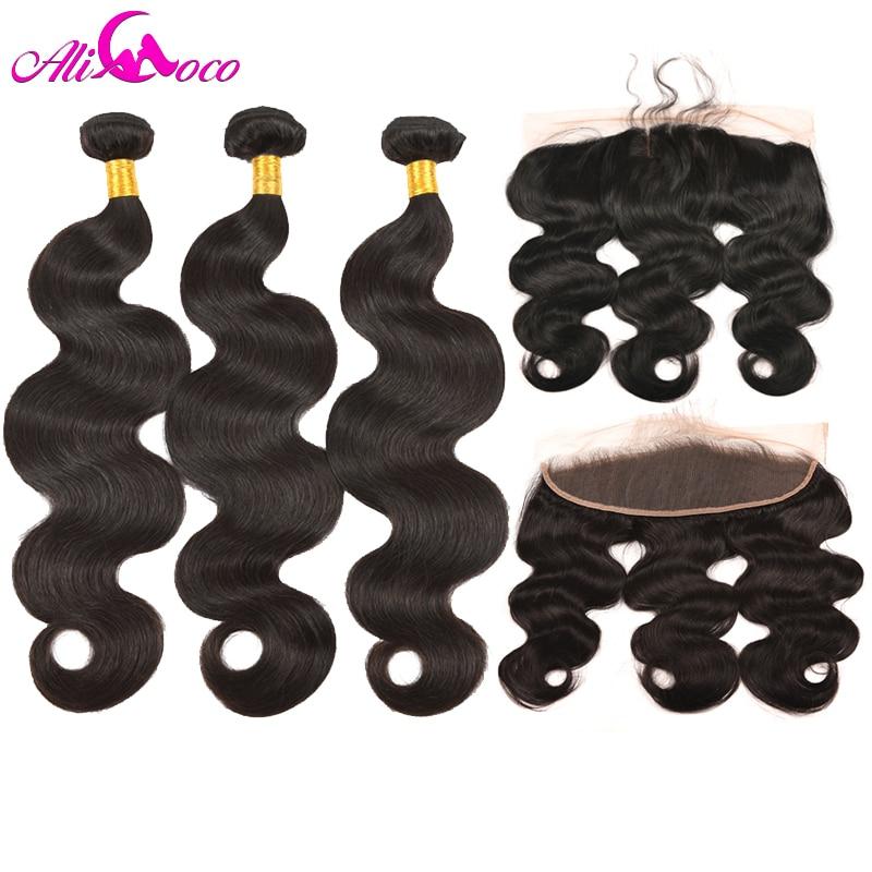 Ali Coco brasilianska Body Wave 3-packar med snörning Frontal - Mänskligt hår (svart)