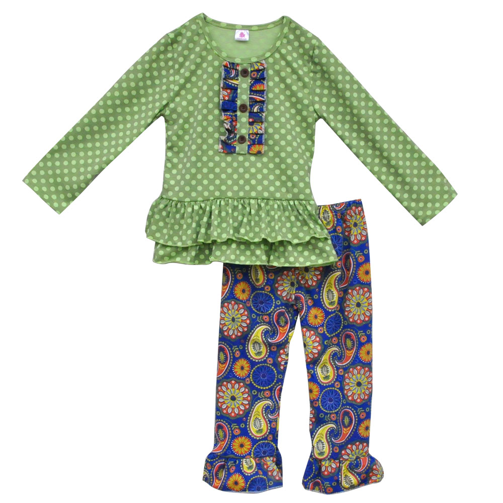 2016 New Design Boutique Mustard Pie Charming Girls  Outfits Cute Polka Dot Top  Vintage Pants Wholesale Kids Clothes  CX-121