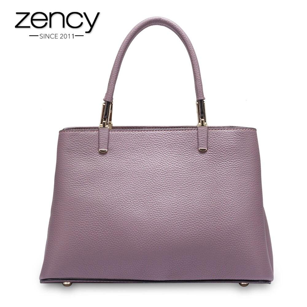Zency Office Lady Tote Bag 100% Soft Skin Genuine Leather Business Women Handbag Fashion Lady Messenger Bag bolso de las mujeres
