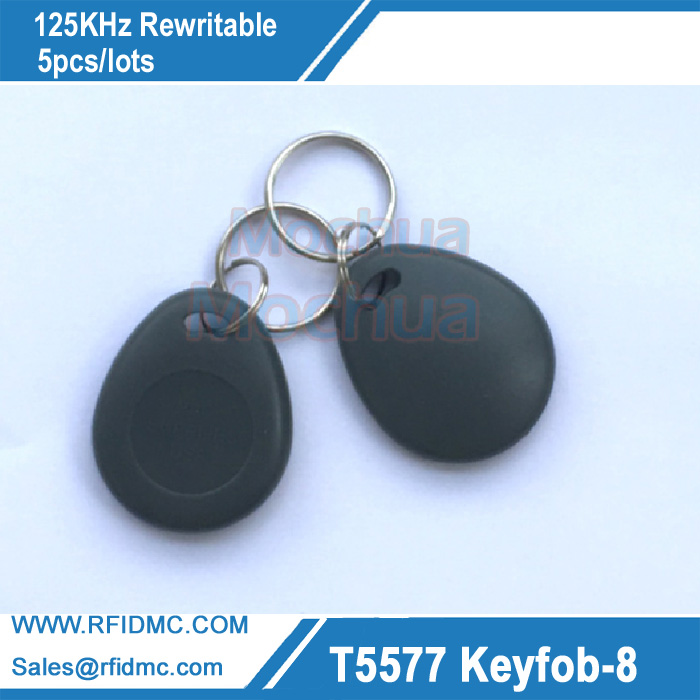 5PCS Amtel T5577 key fob 125Khz rewritable RFID Proximity ID Token