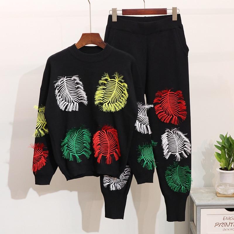 Survêtement Nouvelle Chandail Mode Harlan Hiver Tricoté Pièces Gland Deux Manches Automne Longues Broderie À Black Femmes Pantalons Ensemble 2019 1TAdxqwT