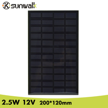 SUNWALK 2.5W 12V 200mA PET Encapsulate Solar Cell Panel DIY Monocrystalline Solar Panel for Solar System and Solar Project