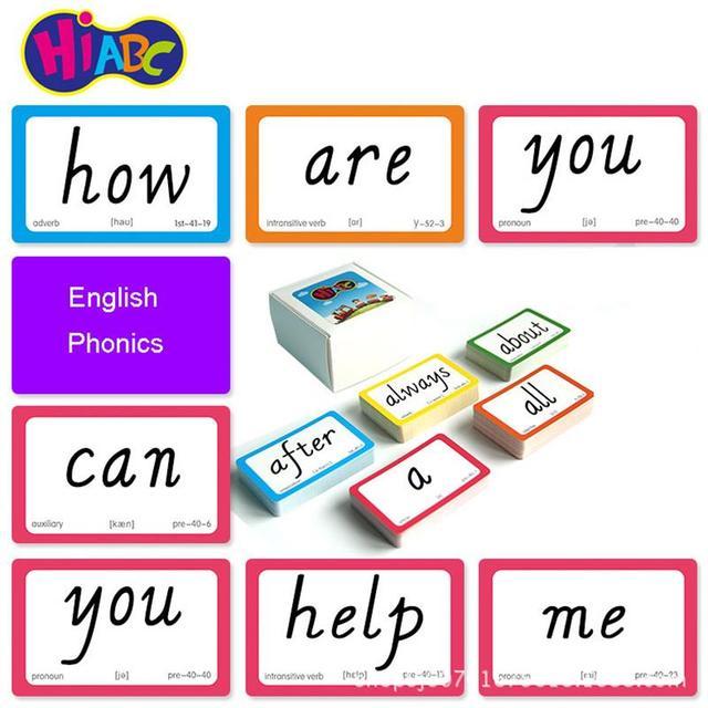 221PCS English Sight Words Card Phonics Words Flashcards Learning