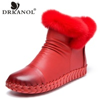 DRKANOL Handmade Genuine Leather Snow Boots Women Winter Warm Shoes Fashion Zipper Rabbit Fur Flat Casual