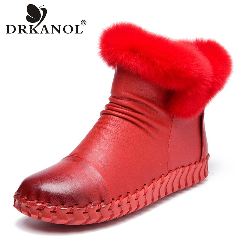 DRKANOL Handmade Genuine Leather Snow Boots Women Winter Warm Shoes Fashion Zipper Rabbit fur Flat Casual Ankle Boots Women serene handmade winter warm socks boots fashion british style leather retro tooling ankle men shoes size38 44 snow male footwear