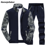 NaranjaSabor 2019 Autumn Mens Clothing Set Spring Sportwear Men's Camouflage Jacket Casual Pant Male Hoodies Sets Tracksuits 4XL