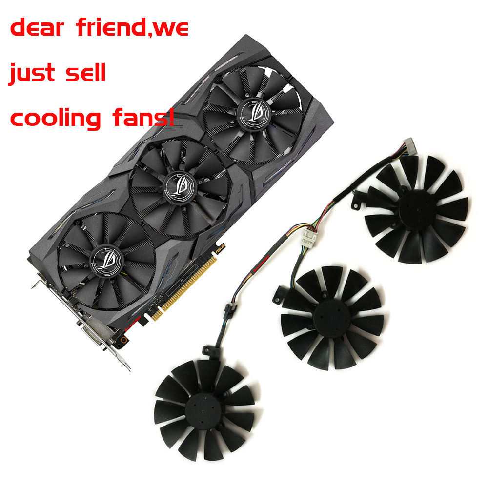 PLD09210S12HH/t129215su VGA cooler graphics rx480/580 fan for ASUS STRIX R9 390X/R9 390 RX480 RX580 Video cards cooling 2pcs lot everflow t129215su dc 12v 0 5a 5pin gpu vga cooler fan for r9 390 r9 390x graphics card