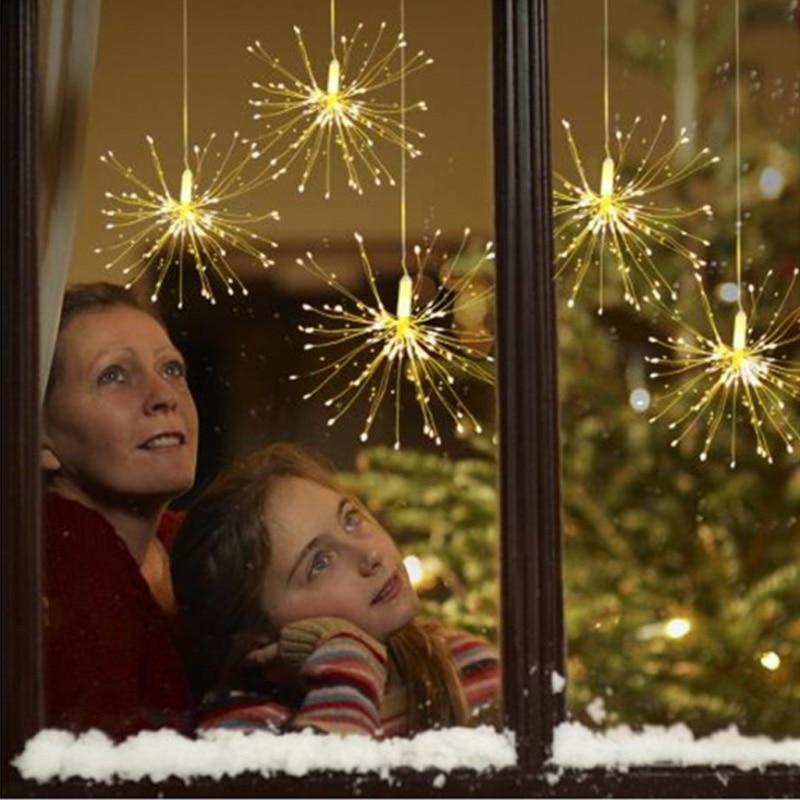 Hanging Starburst String Light 200 Leds DIY Firework Copper Fairy Garland Christmas Lights Outdoor Twinkle Lights
