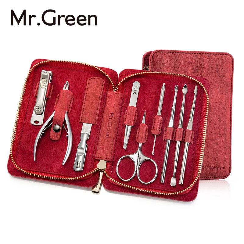MR.GREEN 9 IN1 Manicure Set Professional Stainless steel nail clippers scissors grooming kit art Cuticle Utility manicure tools practical dual ways stainless steel cuticle pusher remover nail art tool