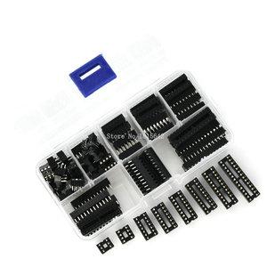 Image 2 - 66 개/몫 dip ic 소켓 어댑터 솔더 타입 소켓 키트 6,8, 14,16, 18,20, 24,28 핀 신규