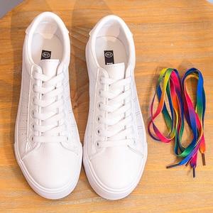 Image 4 - Baskets en cuir pour femmes 2020 tendance décontracté, baskets plates, chaussures confortables vulcanisées, nouvelle mode à lacets