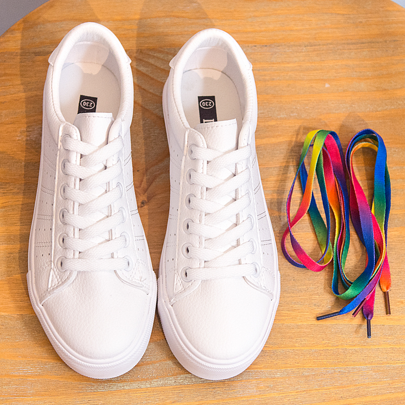 Image 4 - Women Sneakers Leather Shoes 2020 Spring Trend Casual Flats Sneakers Female New Fashion Comfort Lace up Vulcanized Shoeswinter fashionwinter winterwinter white -