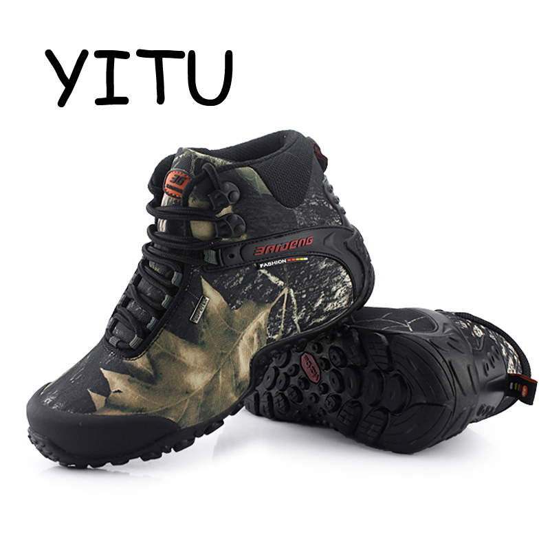 YITU 2018 Outdoor Hiking Boots Brand Rock Mountain Climbing Shoes Sneakers Breathable Camping Canvas Hiking Shoes Men Waterproof yitu breathable hiking shoes for men outdoor sports shoes for autumn hunting camping men climbing sneakers large size 39 44