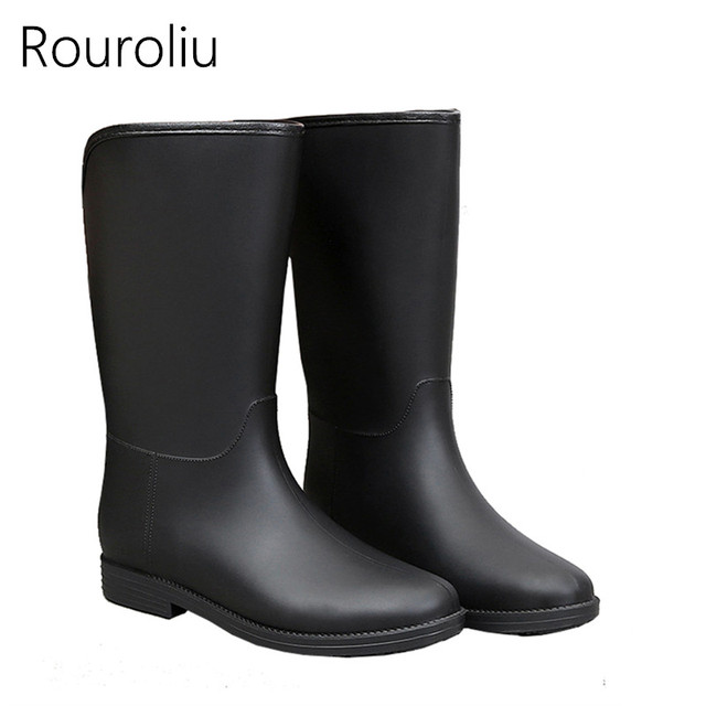 0f7fd7f822bf Rouroliu Women Mid-calf Rain Boots Flat Heels Non-slip Half Rainboots  Waterproof PVC Water Shoes Woman Wellies Spring ZM278