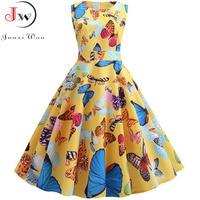Женское винтажное платье в стиле рокабилли с принтом бабочки на лето 2019
