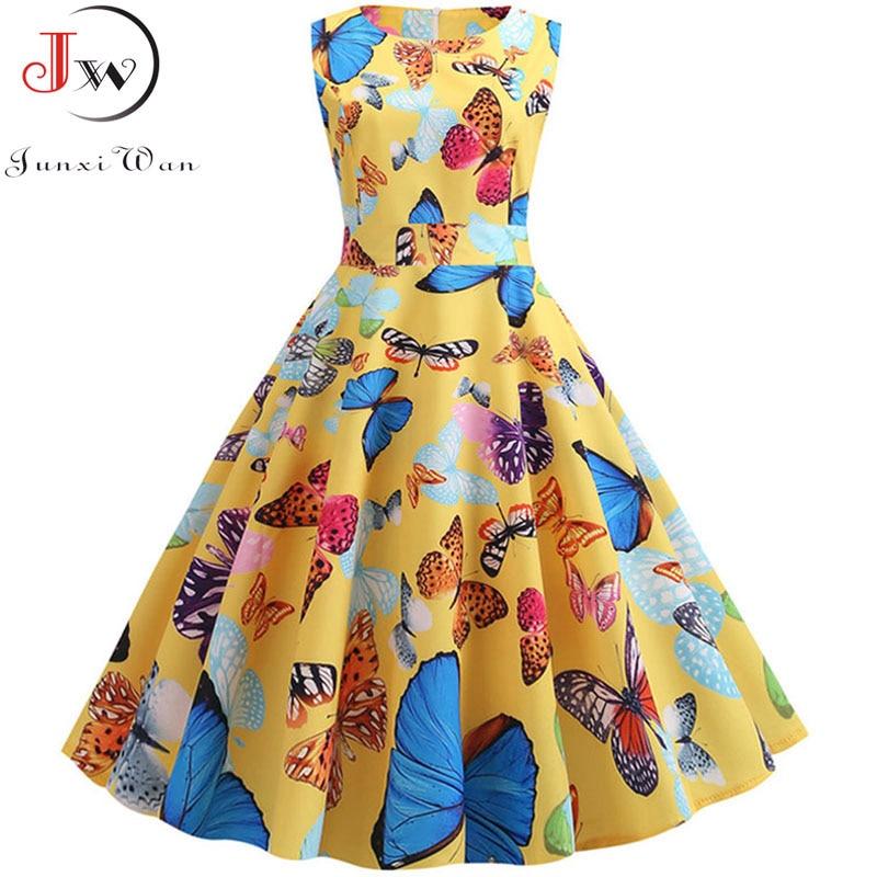 Butterfly Print Vintage Rockabilly Dress Women 2019 Summer Sleeveless A Line Party Dresses Robe Femme Jurken Plus Size Sundress