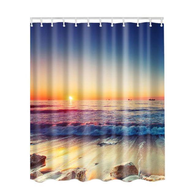 SPA Waterproof Shower Curtain Bathroom Decor Blue Ocean Sunset Waves Lakeview Seaside Scenery