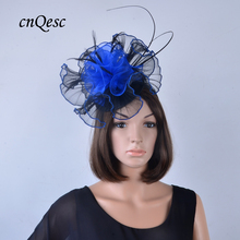 Black/royal blue Chapeau de Fete sinamay base Crin Fascinator w/organza flower&feathers for Kentucky Derby,church,races,QF127