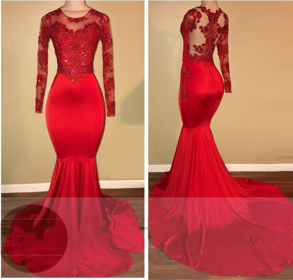 52-1       Lace Appliques African Prom Dress Red Mermaid Evening Cocktail Formal Party Gown_