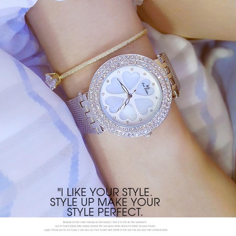 New Fashion Lady Famous Brand Luxury Diamond Bling Silver Watch Women Luxury Austrian Crystals Watch Rhinestone Bangle Dropship